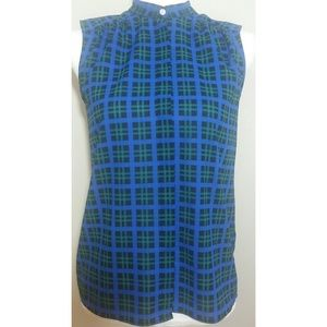 J. Crew blue and green plaid sleeveless top